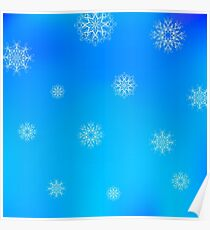 White Snowflake Pattern on Blue. Christmas Blurred Background Poster
