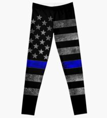THIN BLUE LINE - BLUE LIVES MATTER Distressed Flag with Bullet Hole Leggings