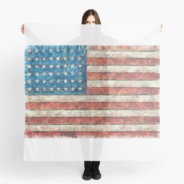 American Flag Colored Pencil Scarf