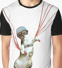 Cat Parachute Graphic T-Shirt