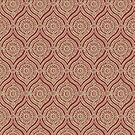 Chic Ethnic Ogee Pattern in Maroon and Beige by Judy Adamson