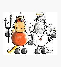 Angel and devil horses - Comic - Gift - Funny - Animals Photographic Print