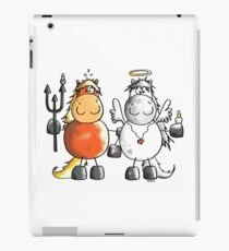 Angel and devil horses - Comic - Gift - Funny - Animals iPad Case/Skin