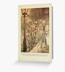 A Christmas Carol by Charles Dickens art by Arthur Rackham 1915 0035 Bob Cratchit went down a slide on Cornhill Greeting Card