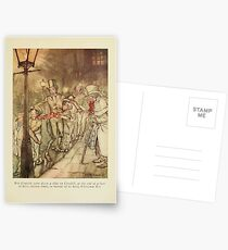 A Christmas Carol by Charles Dickens art by Arthur Rackham 1915 0035 Bob Cratchit went down a slide on Cornhill Postcards