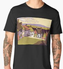 Gold Hill - Original linocut by Francesca Whetnall Men's Premium T-Shirt