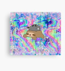Blue Tabby Cat and Sloth Rainbow Holographic Canvas Print