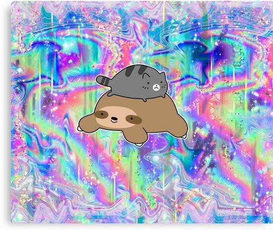 Blue Tabby Cat and Sloth Rainbow Holographic by SaradaBoru