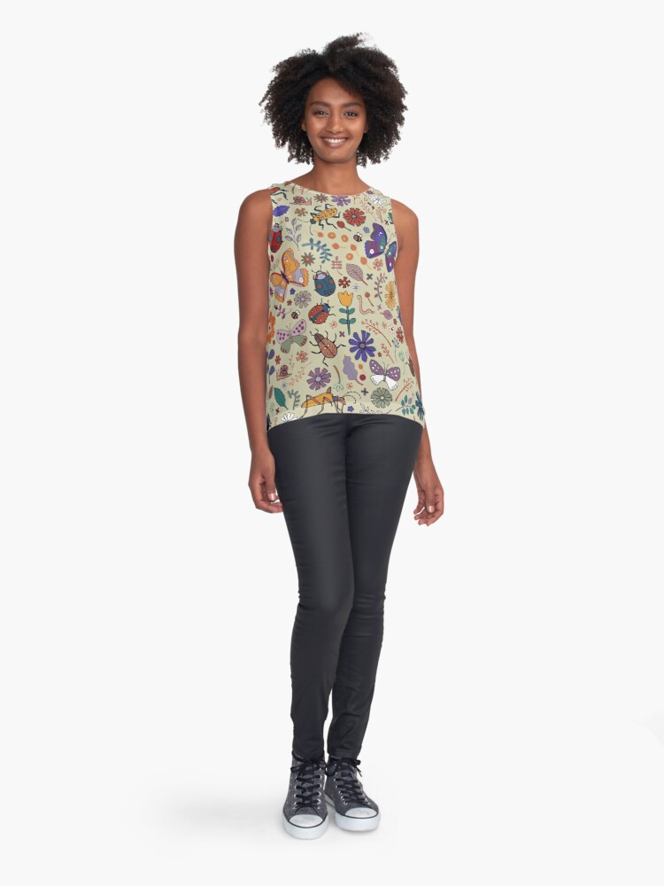 Alternate view of Butterflies, Beetles and blooms - taupe - pretty floral pattern by Cecca Designs Sleeveless Top