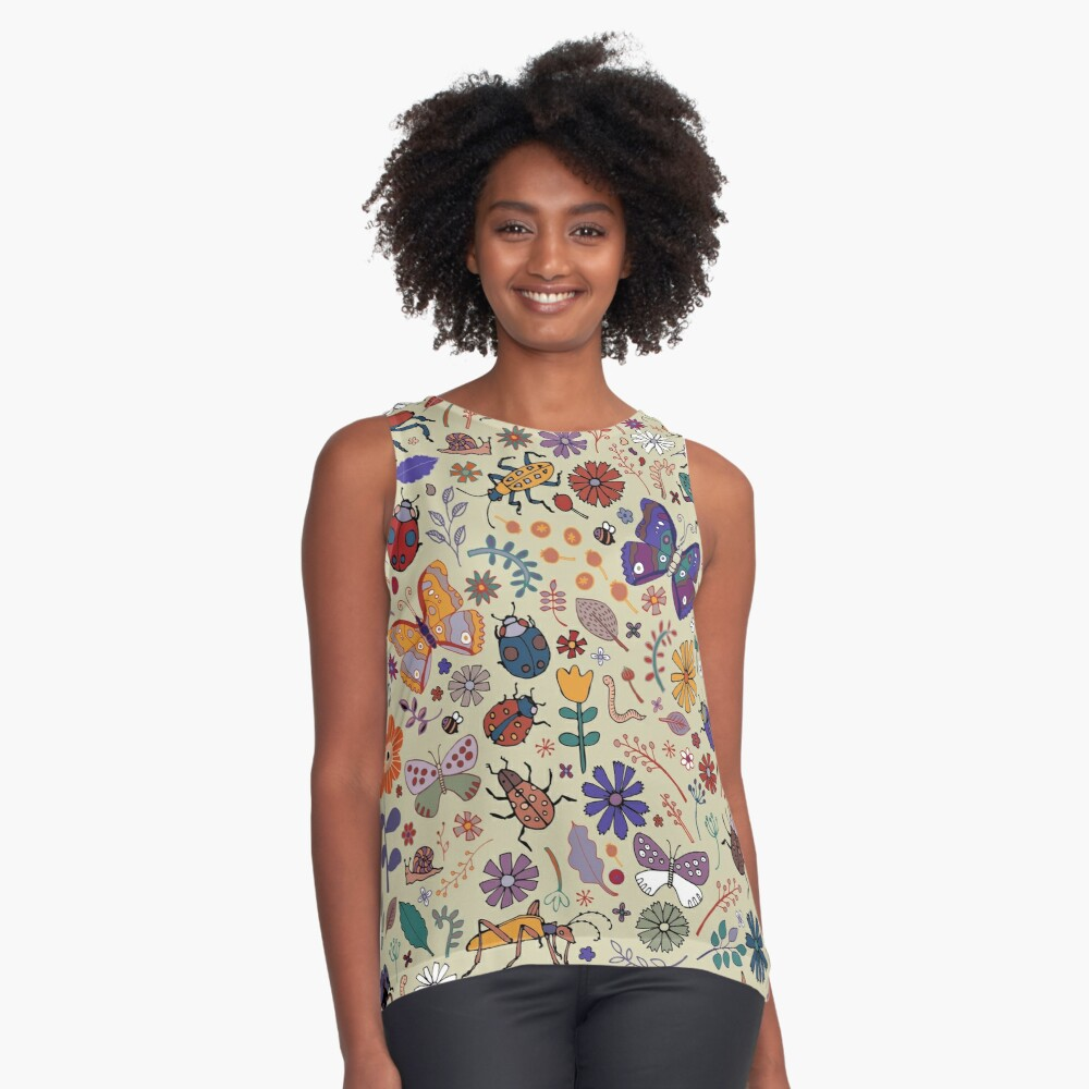 Butterflies, Beetles and blooms - taupe - pretty floral pattern by Cecca Designs Sleeveless Top