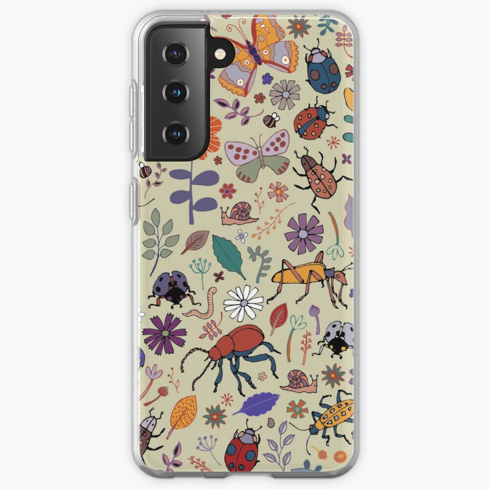 Butterflies, Beetles and blooms - taupe - pretty floral pattern by Cecca Designs Case & Skin for Samsung Galaxy