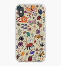 Butterflies, Beetles and blooms - taupe - pretty floral pattern by Cecca Designs iPhone Case