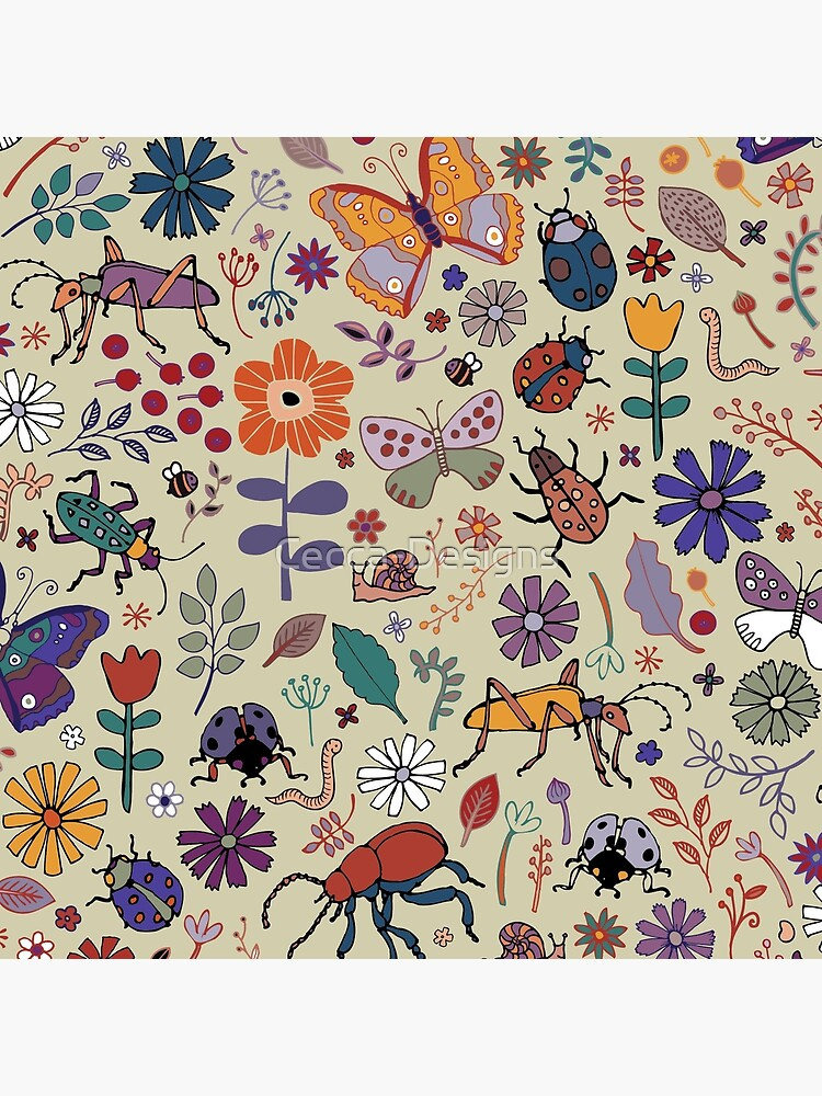 Butterflies, Beetles and blooms - taupe - pretty floral pattern by Cecca Designs by Cecca-Designs