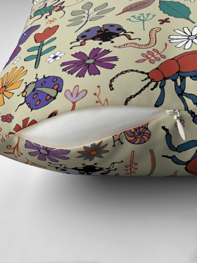 Alternate view of Butterflies, Beetles and blooms - taupe - pretty floral pattern by Cecca Designs Throw Pillow