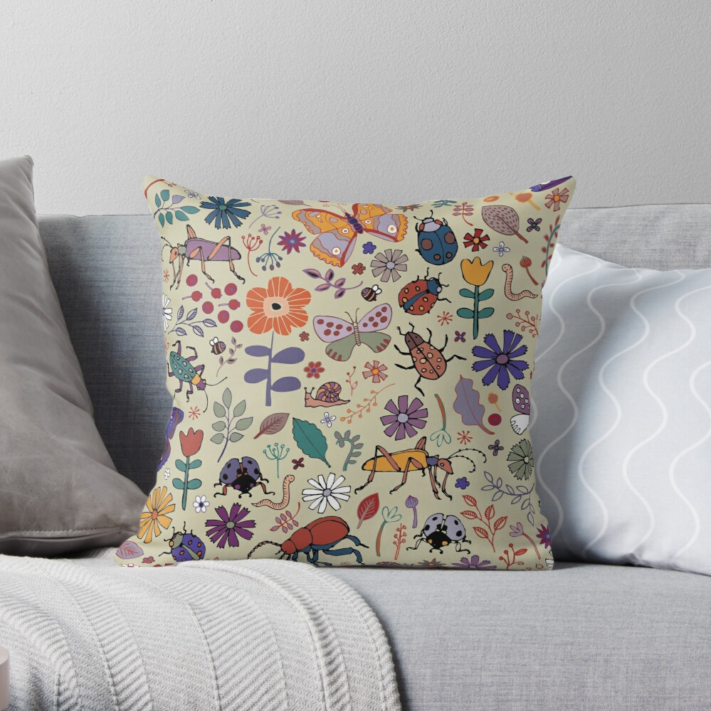 Butterflies, Beetles and blooms - taupe - pretty floral pattern by Cecca Designs Throw Pillow