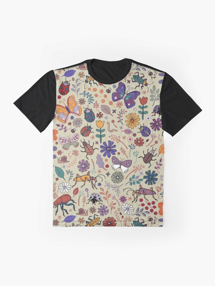 Alternate view of Butterflies, Beetles and blooms - taupe - pretty floral pattern by Cecca Designs Graphic T-Shirt