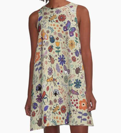 Butterflies, Beetles and blooms - taupe - pretty floral pattern by Cecca Designs A-Line Dress