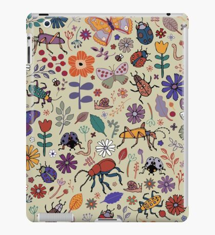 Butterflies, Beetles and blooms - taupe - pretty floral pattern by Cecca Designs iPad Case/Skin