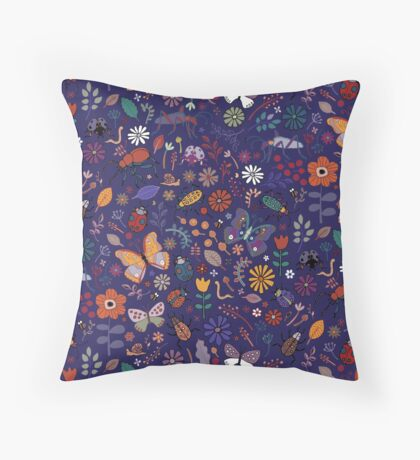 Butterflies, beetles and blooms - French navy - pretty floral pattern by Cecca Designs Floor Pillow