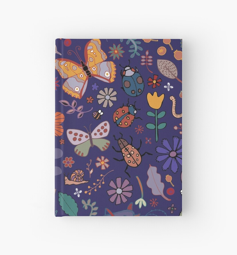 Butterflies, beetles and blooms - French navy - pretty floral pattern by Cecca Designs by Cecca-Designs