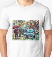 VERDUN CITY IN THE RAIN MISTY UMBRELLA DAY SOUTHWEST MONTREAL CANADIAN URBAN SCENES T-Shirt
