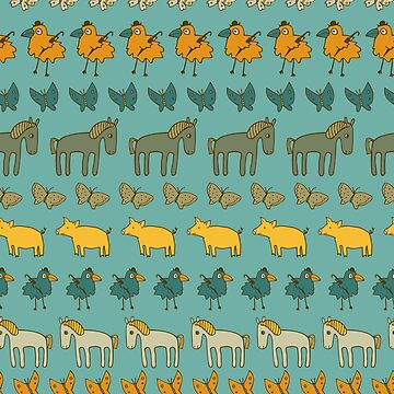 Striped Pigs and Ponies - Aqua and buttercup yellow - fun pattern by Cecca Designs by Cecca-Designs