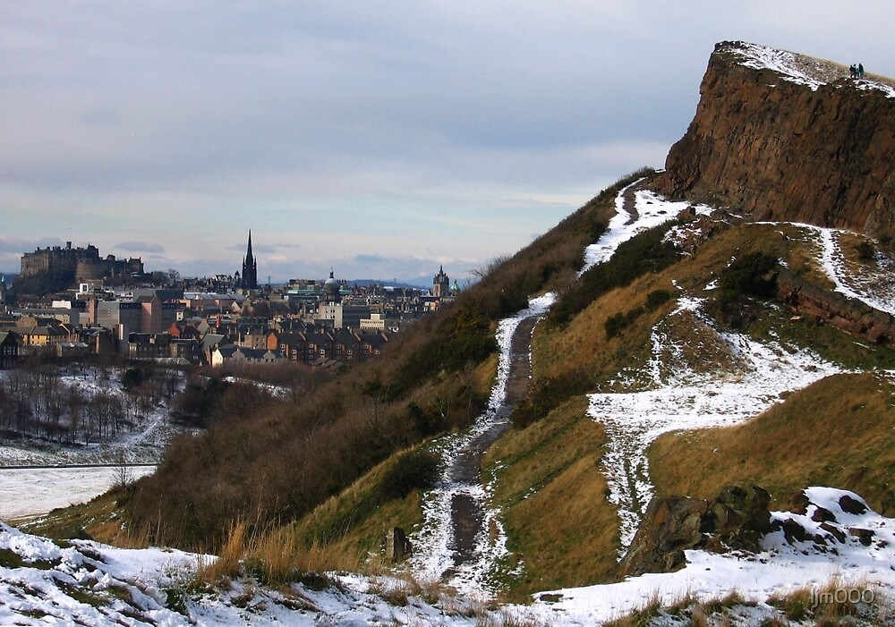 Salisbury Crags and Edinburgh Castle in winter by ljm000