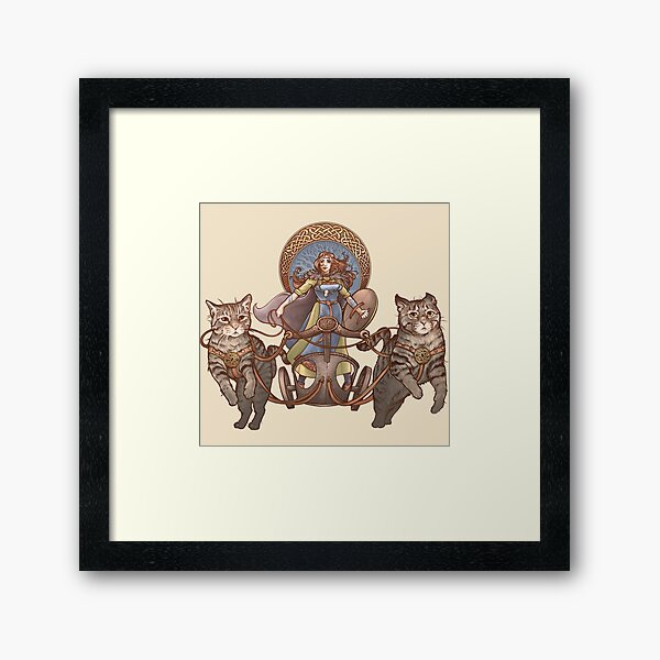 Freya Driving Her Cat Chariot Framed Art Print
