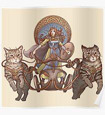 Freya fährt ihren Katzenwagen Poster