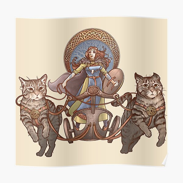 Freya Driving Her Cat Chariot Poster