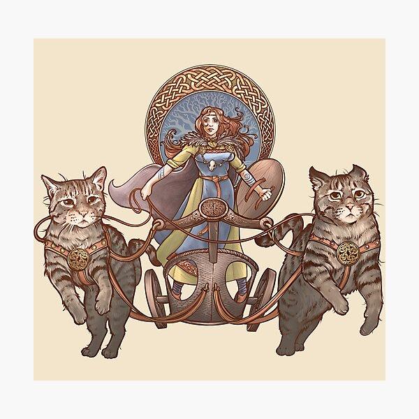 Freya Driving Her Cat Chariot Photographic Print