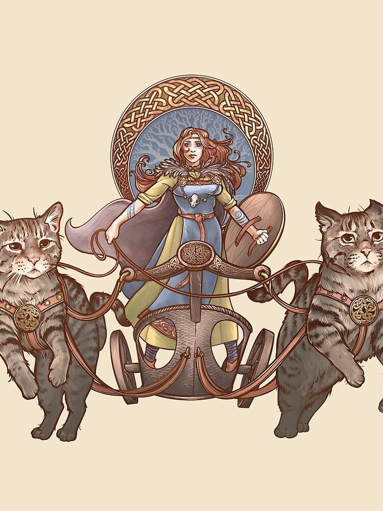 Freya Driving Her Cat Chariot by DaniKaulakis