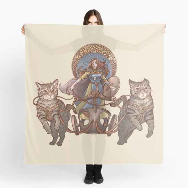 Freya Driving Her Cat Chariot Scarf