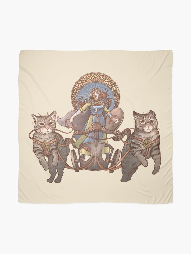 Alternate view of Freya Driving Her Cat Chariot Scarf