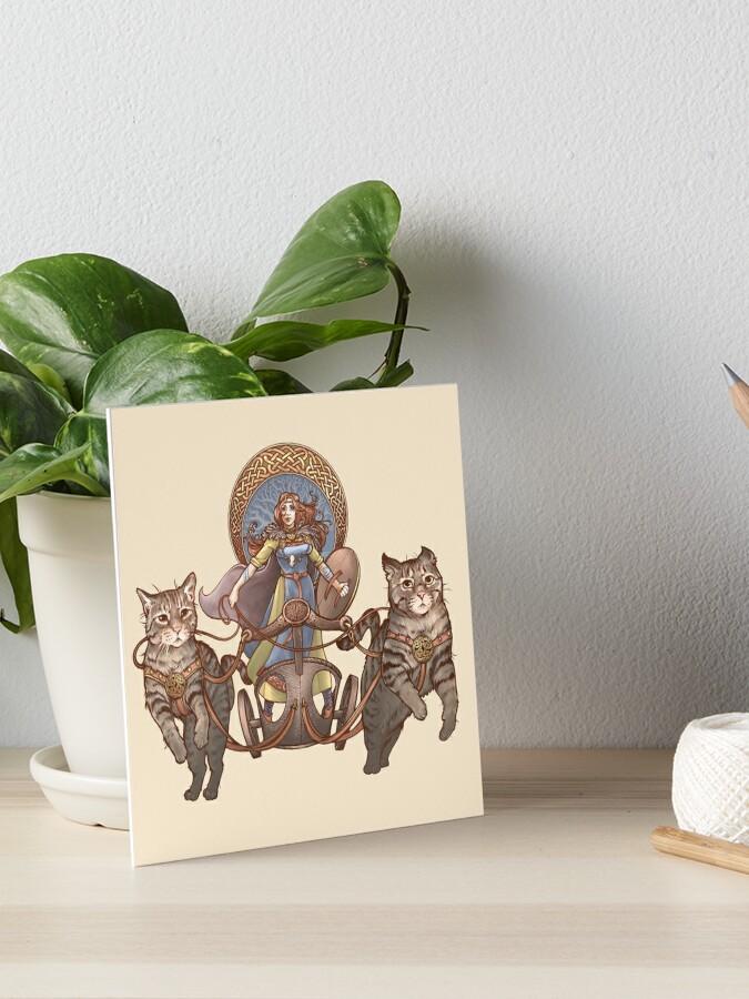 Freya Driving Her Cat Chariot Art Board Print By Dani Kaulakis