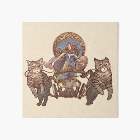 Freya Driving Her Cat Chariot Art Board Print