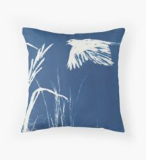 Crow Flying Over Field Throw Pillow