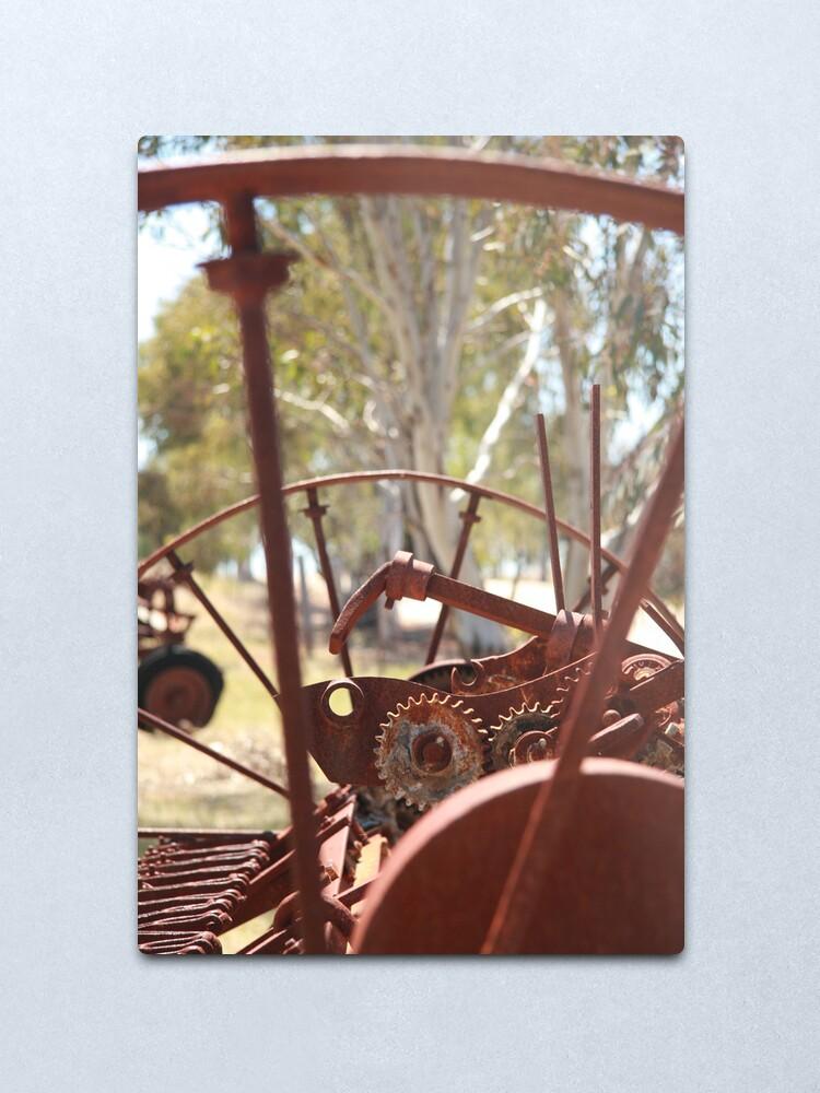 Alternate view of Rusting farm equipment Metal Print