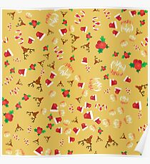 Christmas Pattern - Festive Santa Hat and Reindeer Poster