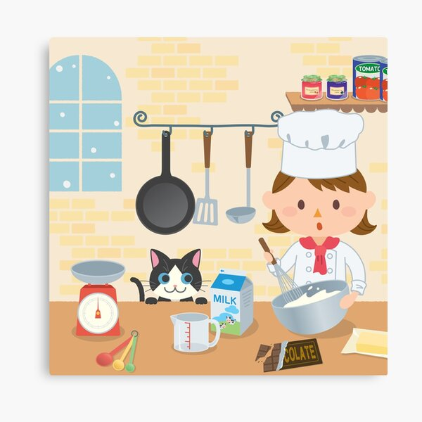 Cooking friends cartoon kitchen Canvas Print