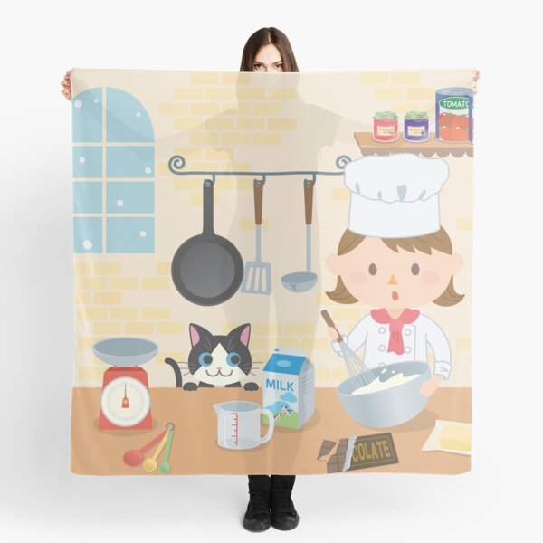 Cooking friends cartoon kitchen Scarf