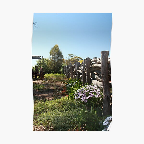 Flowers by the fence Poster