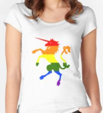 Rainbow Unicorn Women's Fitted Scoop T-Shirt