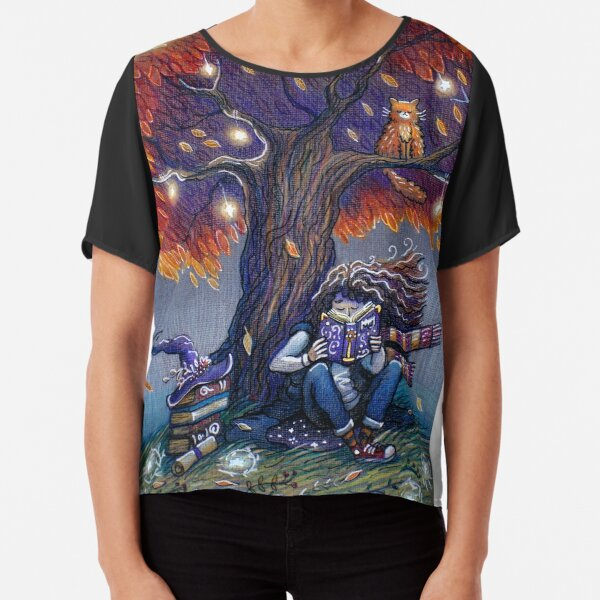 Young witch reading magic book Chiffon Top