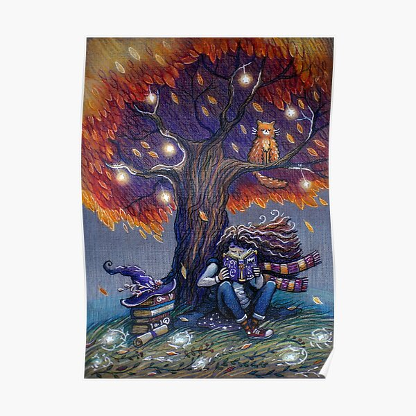 Young witch reading magic book Poster