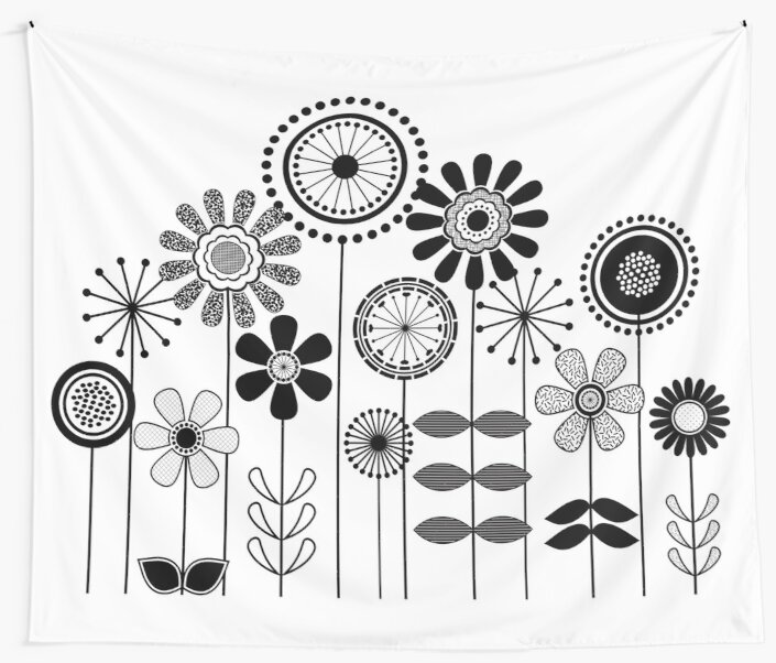 Cute Flower Mid Century Modern Print Black And White Floral Print