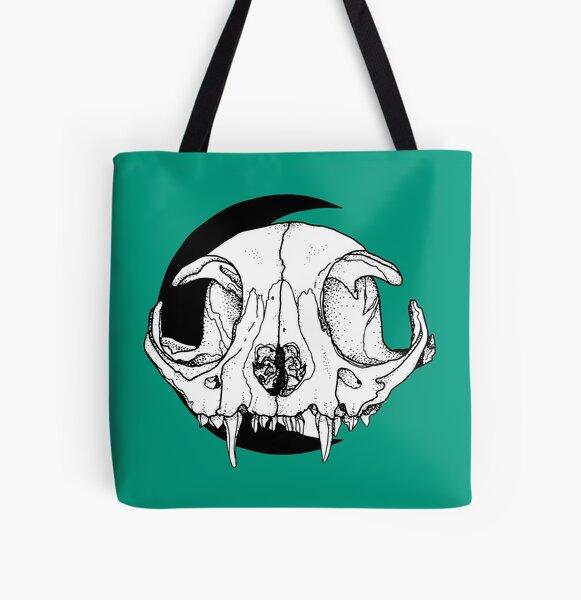 cat skull moon Allover-Print Tote Bag