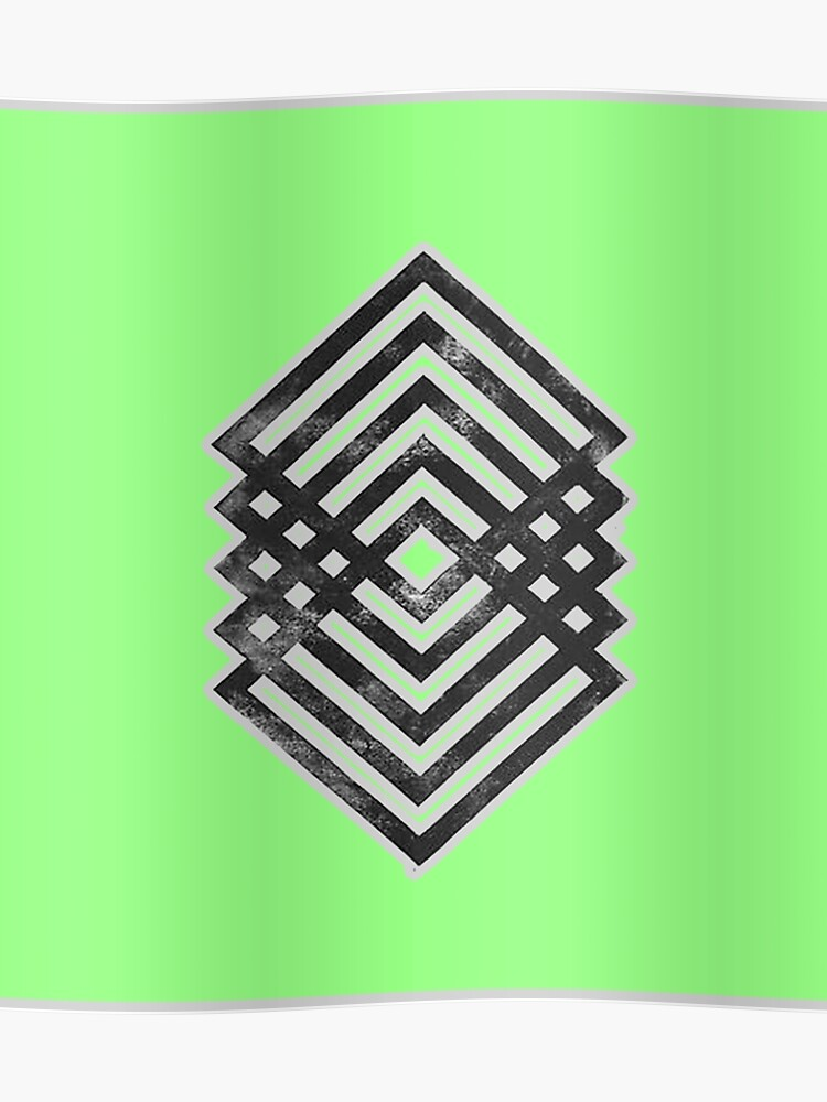 Geometric Diamond Tattoo Design Green Poster By Stylishtayla