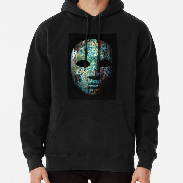Textured mask with cracked rough wood  painted surface, neutral expression on dark background. Pullover Hoodie