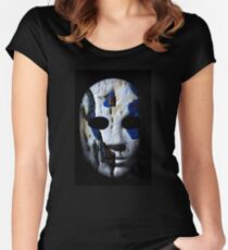 Textured mask with cracked rough wood  painted surface, neutral expression on dark background. Women's Fitted Scoop T-Shirt